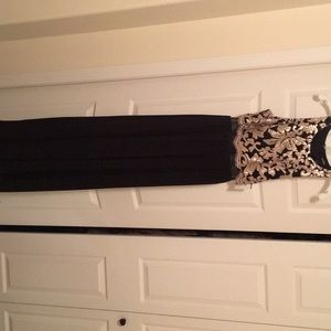 Black and gold embroidered maxi dress
